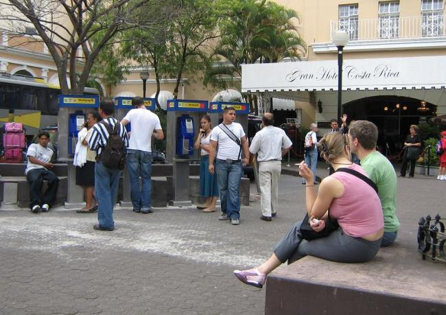 The payphones in front of the Gran Hotel Costa Rica in downtown San José was a source of social gathering a few years back.
