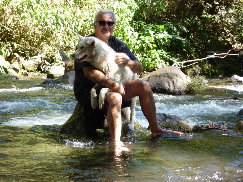 Here I am cooling off in the river with Avia.