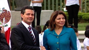 Presidents, Enrique Peña (left) and Laura Chinchilla.