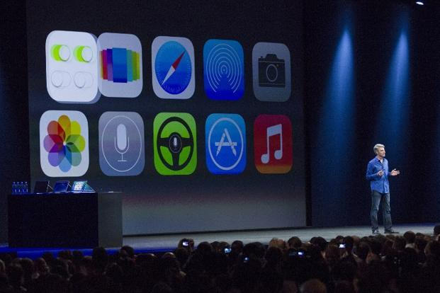 Apple's Craig Federighi, vice president of software engineering, introduces iOS7 at a keynote address during the 2013 Apple WWDC at the Moscone Center on Monday in San Francisco, California. Photo: AFP