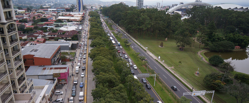 The traffic situation in La Sabana Sur on Thursday. Aerila photo courtesy of Airshutter.com