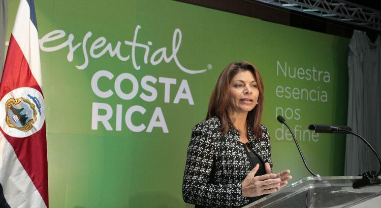 Presidenta Laura Chinchilla presenting the new brand on Tuesday.