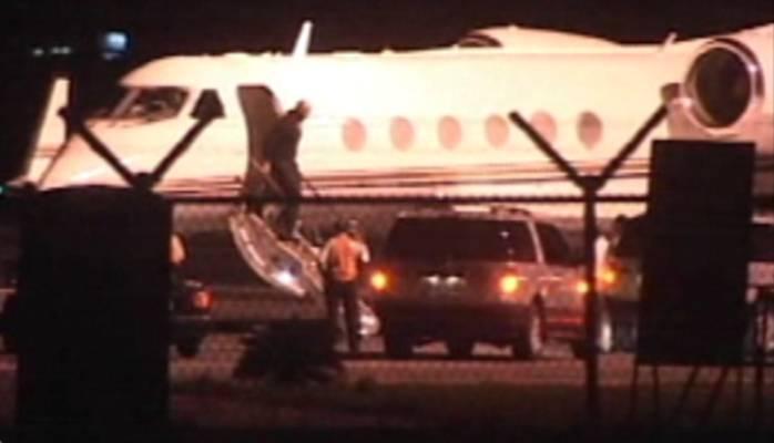 The private plane landed in Liberia Saturday night.