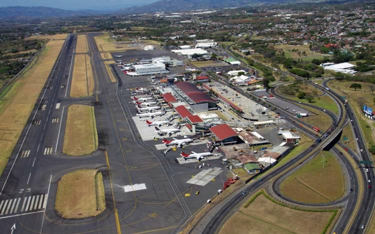 Aerial view of the San José airport