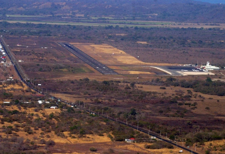 An aerial view of the lands across from the Daniel Oduber international airport in LIberia.