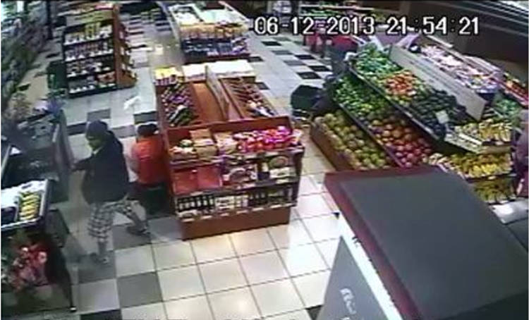 Screen capture of assault on supermarket where a nine month pregnant woman was shot.
