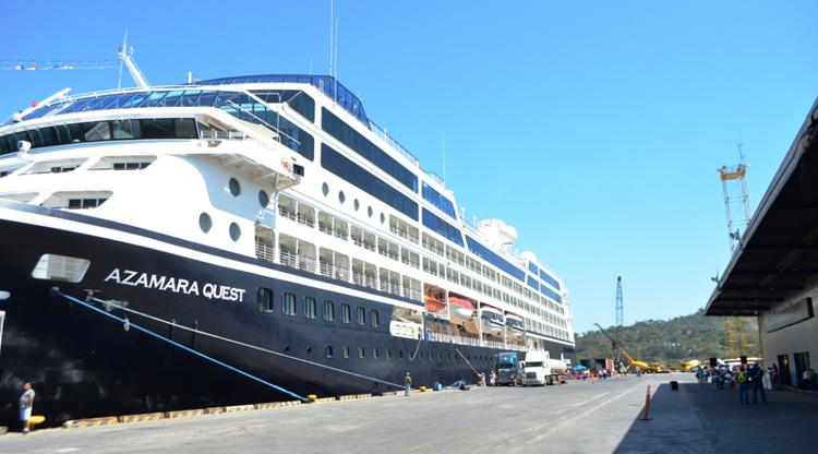 The Azamara Quest docked at the Puerto Caldera, in Puntarenas
