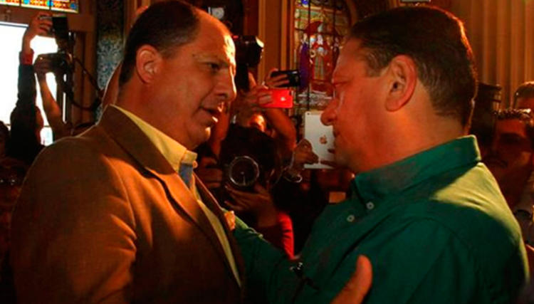 The PAC's Luis Guillermo Solís (left) and PLN's Johnny Araya will face each other in a runoff vote April 6 for the presidency of Costa Rica.