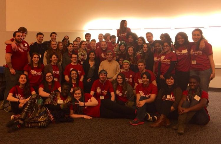 Don Oscar posing with some With some of the PeaceJam students at the University of Connecticut. An unforgettable experience.