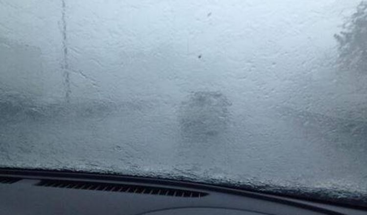 Heavy rainfall Monday reduced visibility to nil. Photo via Facebook posts