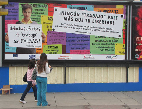 The awareness and informational campaign against human trafficking by the NGO Capital Humano y Social Alternativo has developed a presence in Lima, Peru. (Courtesy of CHS Alternativo)