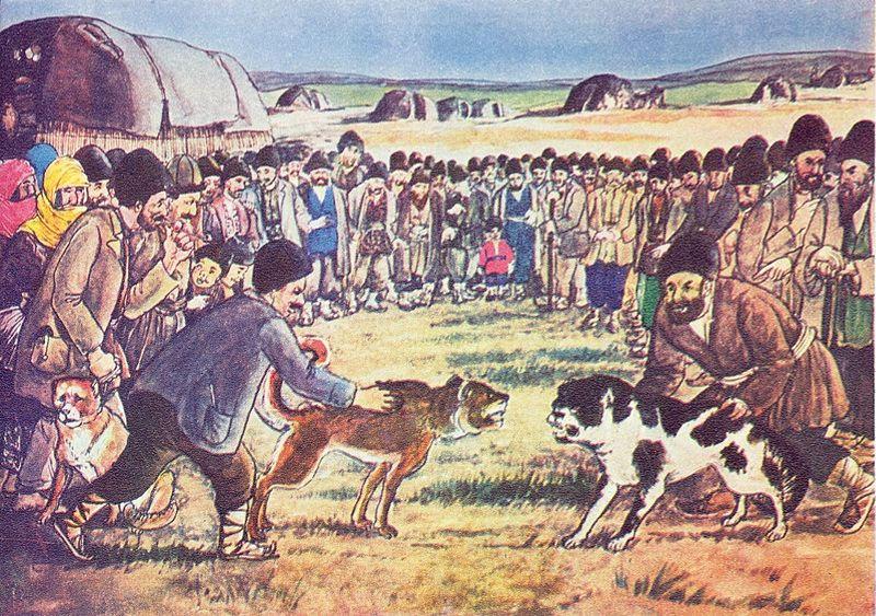 """Azim Azimzade. """"Dog baiting"""". 1938"""