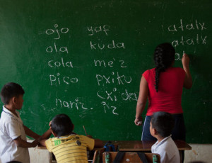 About 300,000 teachers are affiliated with 32 unions in Colombia. So far this year, as many as 130 teachers have reported receiving threats. Above, students take a Nasa-Yuwe native language class at a school in Las Guacas, a rural area in the municipality of Florida in the department of Valle del Cauca. (Luis Robayo/AFP)