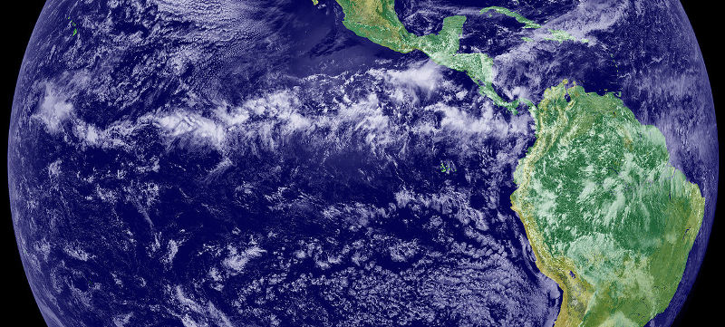 The thunderstorms of the Intertropical Convergence Zone form a line across the eastern Pacific Ocean