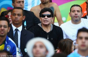 Outburst: Diego Maradona, watching Argentina against Iran, has hit out at FIFA Read more: http://www.dailymail.co.uk/sport/worldcup2014/article-2664711/Diego-Maradona-blasts-FIFA-ordering-SEVEN-Costa-Rica-players-drug-tests-beating-Italy.html#ixzz35ST1xO00 Follow us: @MailOnline on Twitter | DailyMail on Facebook