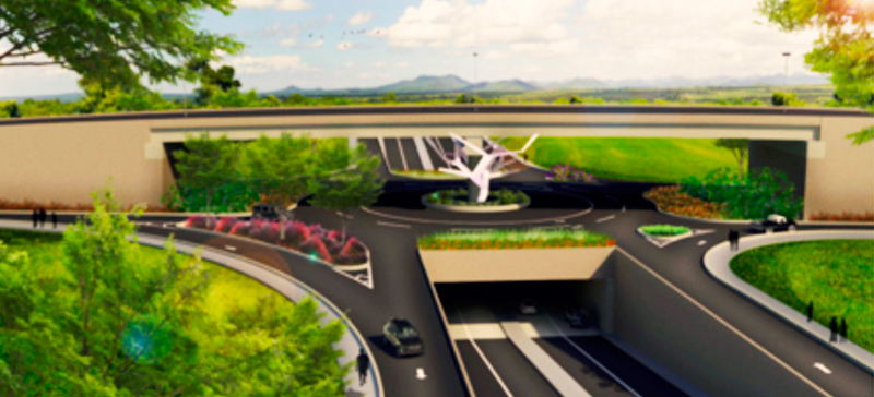 Artist rendering of one of the intersection overpasses that will be part of the Circunvalación,