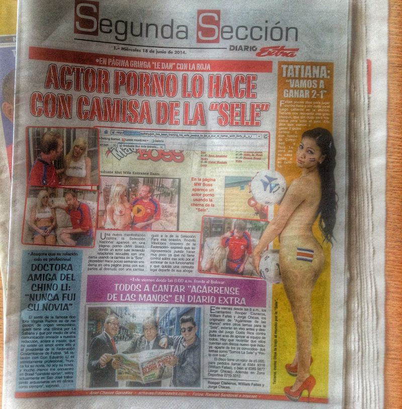 The Diario Extra, the self touted most sold newspaper in Costa Rica, daily publishes photos of scantily clad women. Shown is Wednesday's sports report.