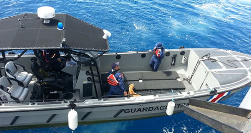 Between May and June, Costa Rican authorities, in cooperation with the U.S. Coast Guard, seized seven metric tons of cocaine off the Central American nation's Pacific Coast. Above, a Coast Guard vessel prepares to transport the seized drugs to land. (Courtesy Ministry of Public Security)