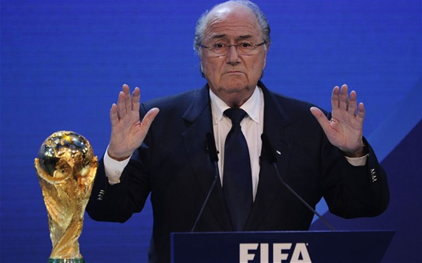 FIFA President Joseph Blatter, with his hands up in disgust.