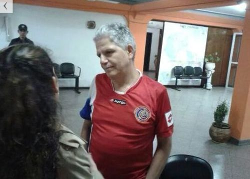 Costa Rica's ambassador to Paraguay, Marco Peraza Salzar, in his Sele shirt.