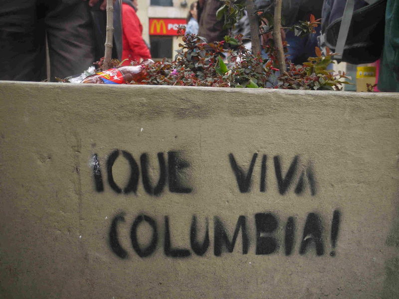'Long live Columbia!' Can it be? This was spotted on Bogota'as Ave. Septima