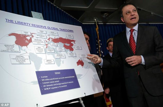 Complex: Preet Bharara, U.S. Attorney for the Southern District of New York, explains the global interests of Liberty Reserve during a news conference about the money-laundering arrests of its founders.