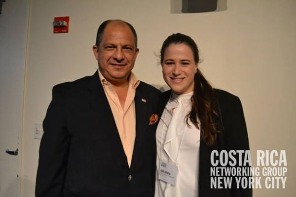 Costa Rican President Luis Guillermo Solís Rivera and Graphic Designer Carol Guzowski, who is also the founder of Costa Rica Networking Group NYC/President & Executive Director at Coral Communications & Design/Graphic Designer at Hourglass Press LLC, etc. (Photo : Costa Rica Networking Group NYC/Facebook)