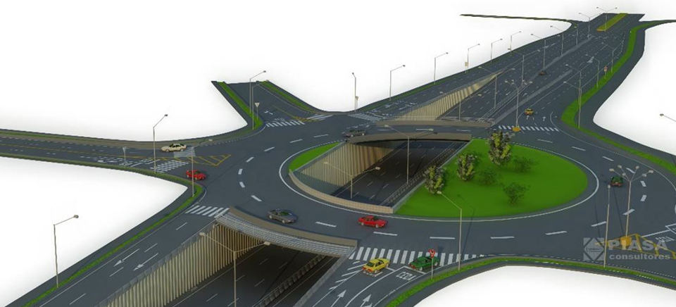 Artist rendering of the Paso Ancho intersection, similar in design and traffic movement as the San Sebastian.