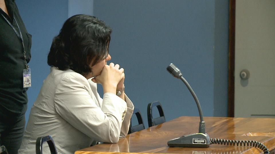 Kattia attentive during the reading of her sentence in a San José courtroom Thursday, Photo: #NoticiasHoy