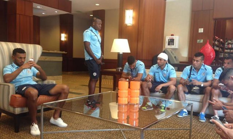 Nicargua's national team hanging around their hotel in Washtington.