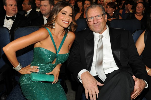 "Sofia Vergara and Ed O'Neill of ""Modern Family"" attend the Emmy Awards, September 23, 2012. (Credit: AP/Frank Micelotta)"