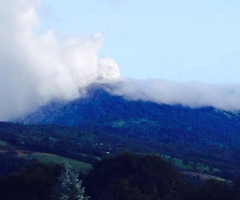 Photo this morning  (Thursday) showing the expulsion of gases and ash from the Turrialba volcano.