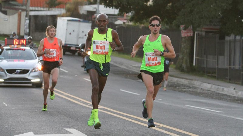 att Llano leads Abdi Abdirahman and Ryan Hall in the early miles of the Gatorade San Jose Half Marathon. Photo: Courtesy of Gatorade San Jose Media Marathon