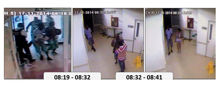 The Cali hospital secuirty cameras reveals the girls was rushed in to hospital by her father, who then fled.