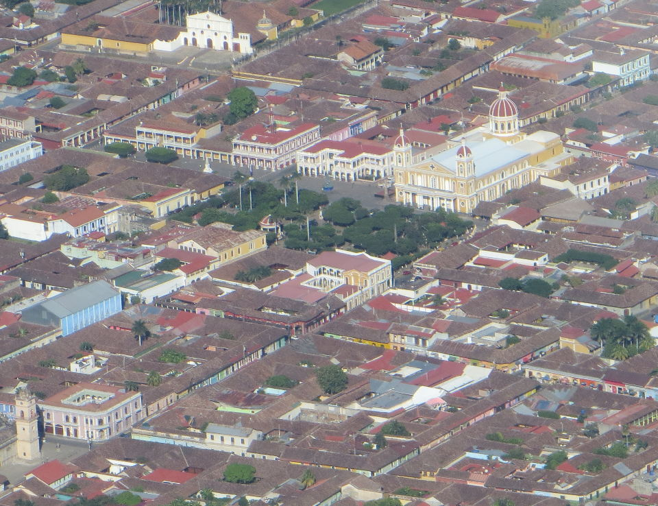 """Granada's famous yellow Cathedral from the air."""