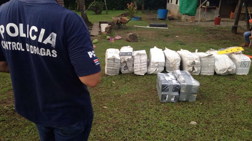 Drug seizure: Costa Rican Drug Control Police guard several bags of cocaine confiscated by security forces in 2014. From January through November, police in Costa Rica seized about 23 tons of cocaine and more than 13 tons of marijuana. (Courtesy of the Ministry of Public Security)