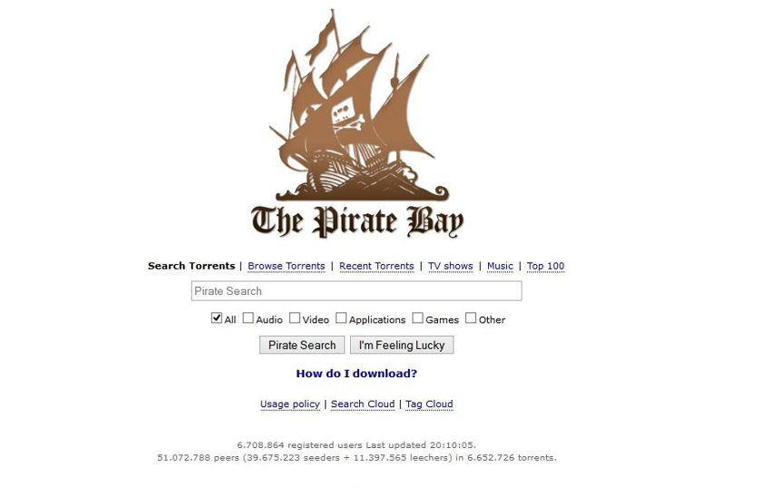 The piratebay.cr website