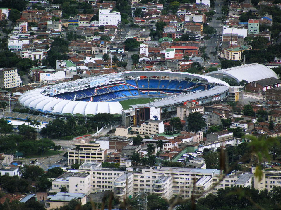 Cali, Colombia's sports capital. The  Estadio Pascial Guerrero Stadium seen from the Cristo Rey