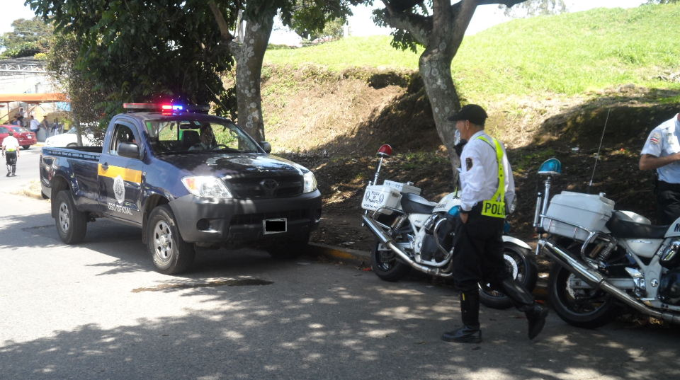 Policia de Transito (traffic police) patrol the highways and streets in Costa Rica.