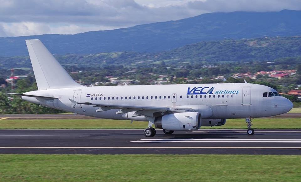 VECA Airlines A319 landing at Juan Santamaria International Airport