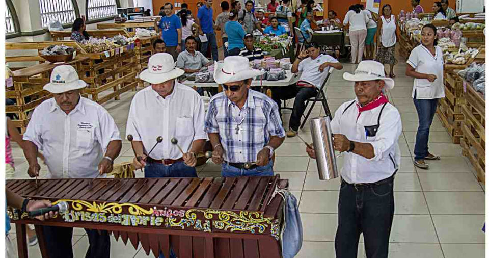 Marimba Las Brisas del Norte during the opening of the new market Nicoa, on February 6, 2015. Photo by Ariana Crespo