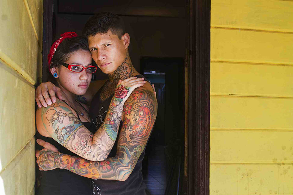 """Jorge Arturo Lopez """"Zamo,"""" age 28, and his wife, Karla Gonzales, age 23, were united by a passion for body art five years ago. Since she sought him out for her first tattoo, they became inseparable"""