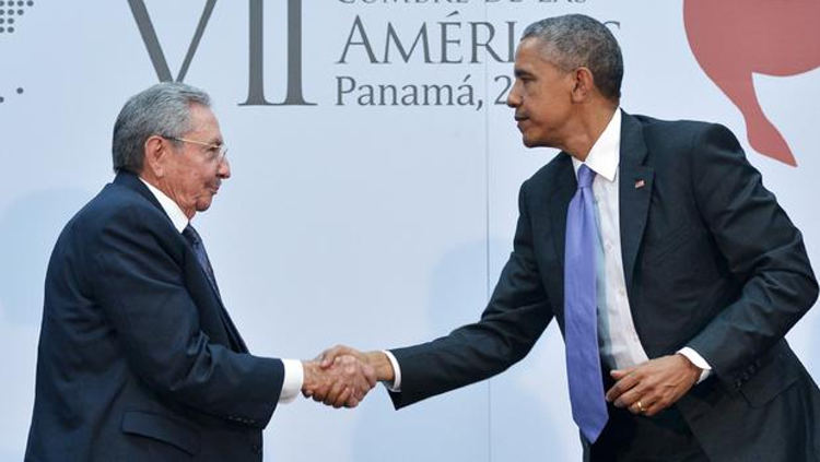 President Obama shakes hands with Cuba's President Raul Castro on the sidelines of the Summit of the Americas at the ATLAPA Convention center April 11, 2015, in Panama City. MANDEL NGAN/AFP/Getty Images