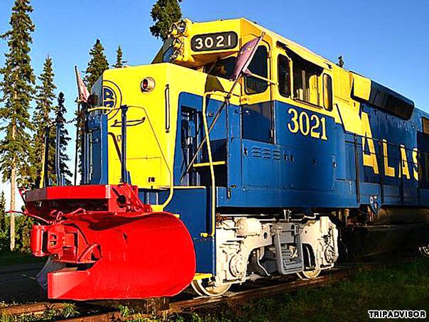 The Aurora Express (Fairbanks, Alaska) The cars of this train sit on 700 feet of railroad track overlooking the Tanana River, Alaska Range and city of Fairbanks.