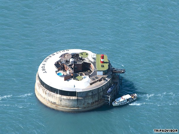 Spitbank Fort (England) This hotel has been transformed from a gun emplacement into a luxurious private island fitted with a rooftop heated pool, sauna and fire pit.