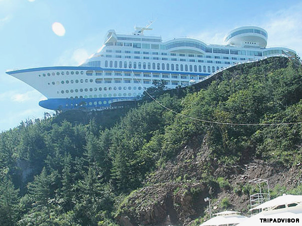 "Sun Cruise Resort (South Korea) Billing itself as the ""first luxury cruise ship on land,"" this resort offers everything you'd experience on the open sea -- minus the sickness and ports of call."