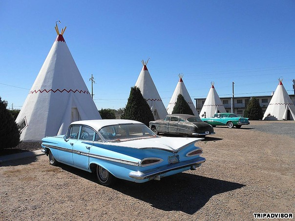 Wigwam Motel (Holbrook, Arizona) Influenced by Native American culture, Frank Redford began building these teepee motels across America in the 1930s. Only three remain.