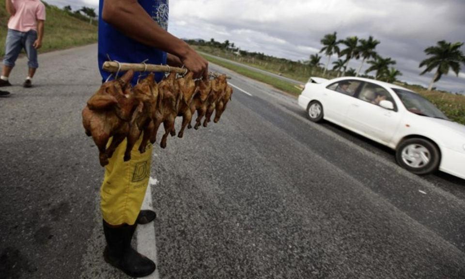 A man sells roast chickens along a highway near Artemisa, some 80km (50 miles) west of Havana. Photograph: Desmond Boylan/Reuters