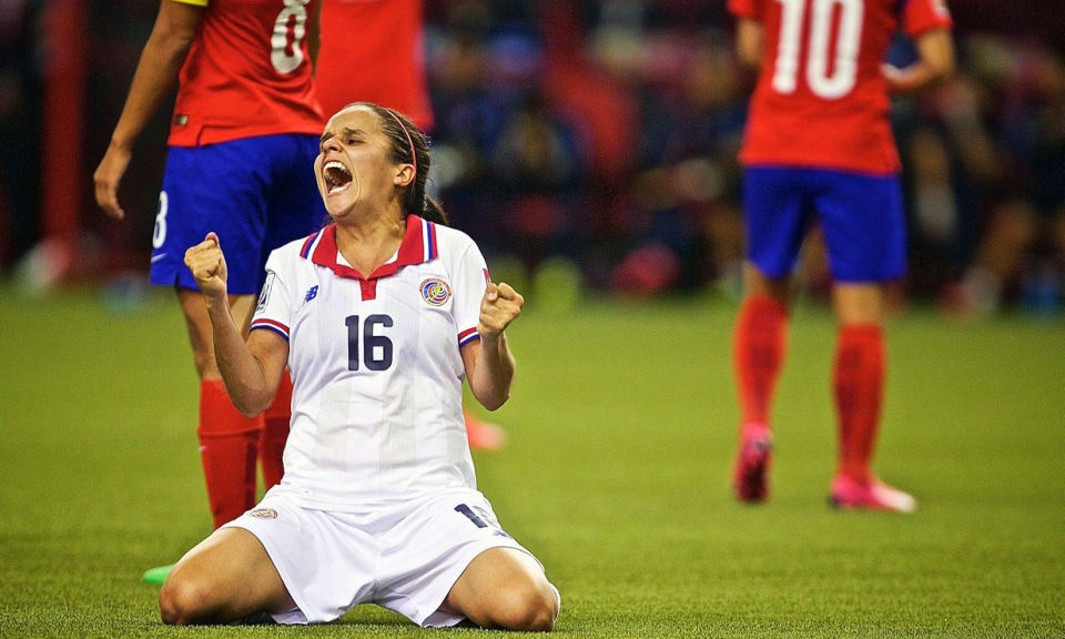 Costa Rica's Katherine Alvarado celebrates after her team nabbed a late goal to keep their hopes alive in the tournament. Photograph: Andre Pichette/EPA