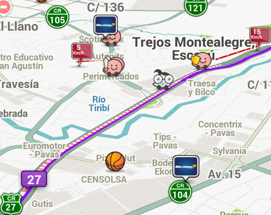 Screenshot from Waze